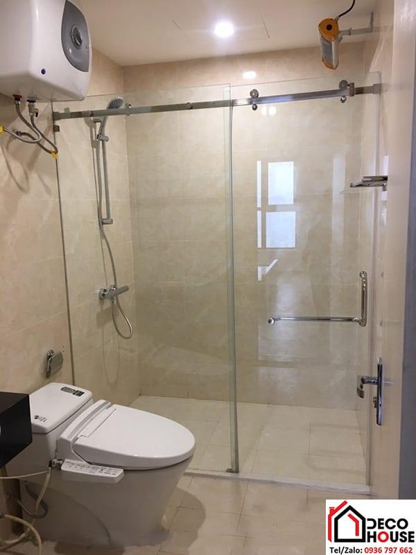 Vách ngăn kính phòng tắm cửa lùa đẹp